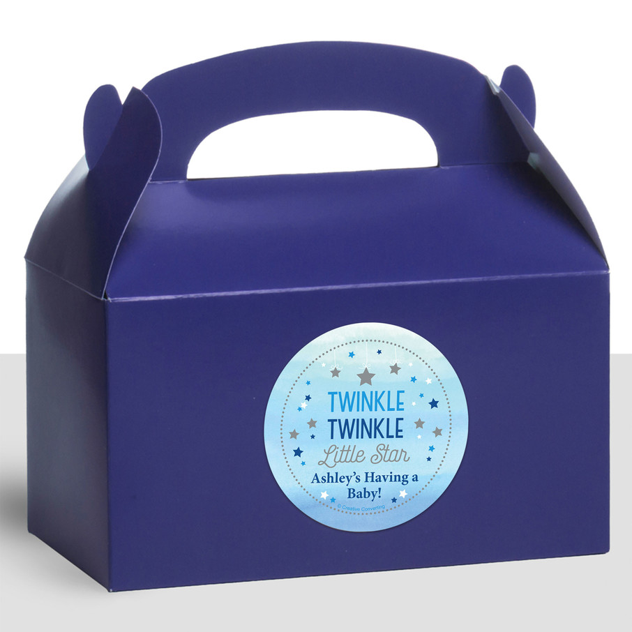 View larger image of Twinkle Twinkle Little Star Blue Personalized Treat Favor Boxes (12 Count)