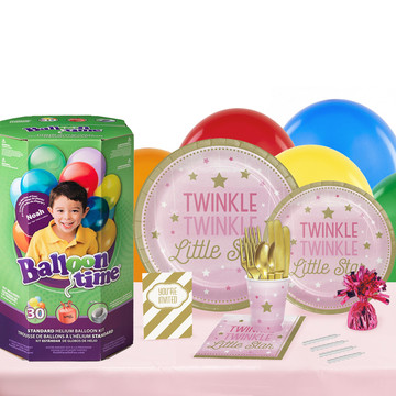 Twinkle Twinkle Little Star Pink 16 Guest Kit with Tableware and Helium Kit