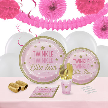 Twinkle Twinkle Little Star Pink 16 Guest Tableware Decoration Kit