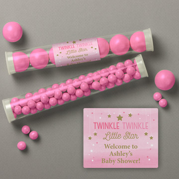 Twinkle Twinkle Little Star Pink Personalized Candy Tubes (12 Count)