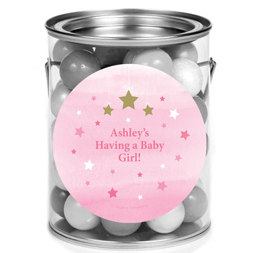Twinkle Twinkle Little Star Pink Personalized Mini Paint Cans (12 Count)