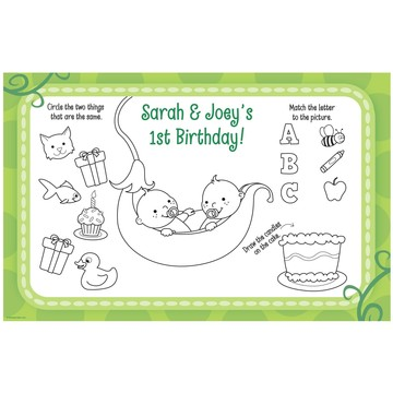 Twin's 1st Birthday Personalized Activity Mats (8-Pack)