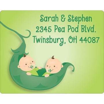 Twin's 1st Birthday Personalized Address Labels (Sheet of 15)