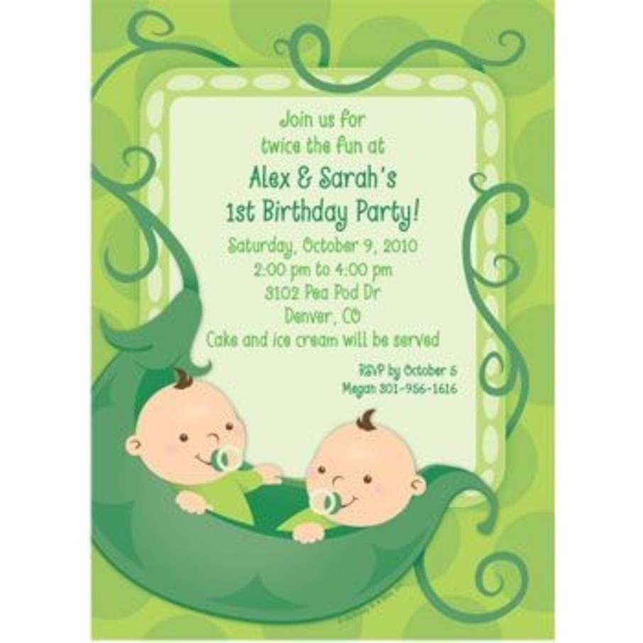 View larger image of Twin's 1st Birthday Personalized Invitation (each)