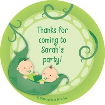 Twin's 1st Birthday Personalized Stickers (sheet of 12)