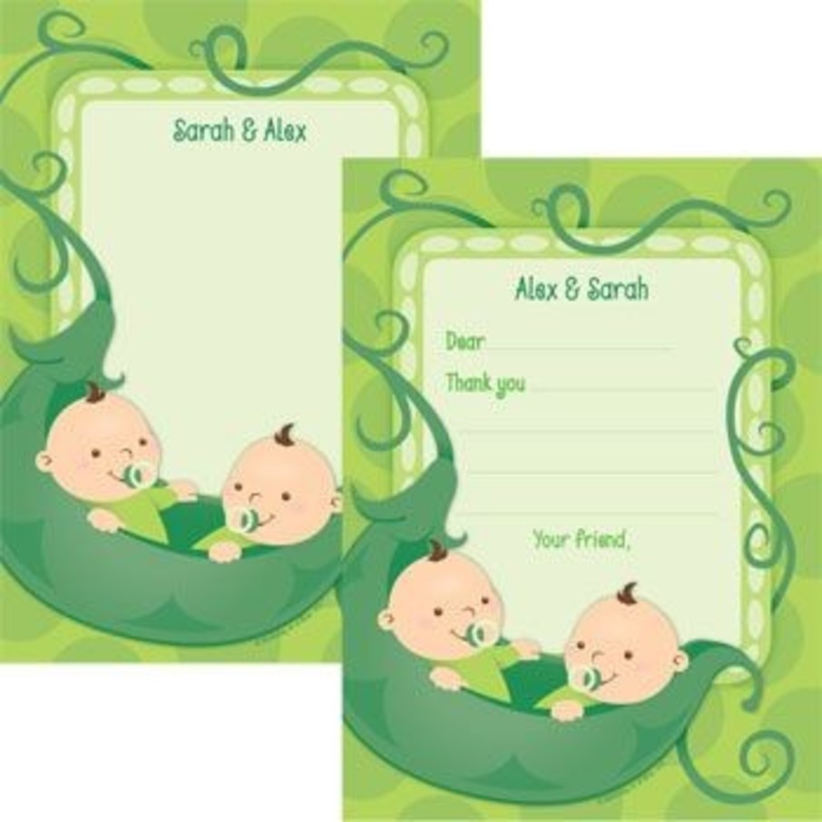 View larger image of Twin's 1st Birthday Personalized Thank You Note (each)