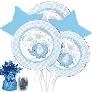 Umbrellaphants Blue Baby Shower Balloon Bouquet Kit