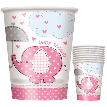 Umbrellaphants Pink 9 oz Cups (8 Count)