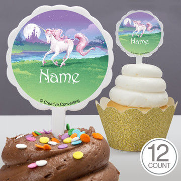 Unicorn Personalized Cupcake Picks (12 Count)