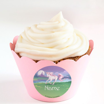 Unicorn Personalized Cupcake Wrappers (Set of 24)