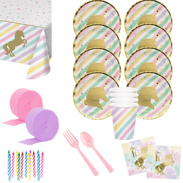 Unicorn Sparkle 16th Birthday Deluxe Tableware Kit (Serves 8)