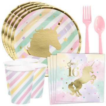 Unicorn Sparkle 16th Birthday Standard Tableware Kit (Serves 8)