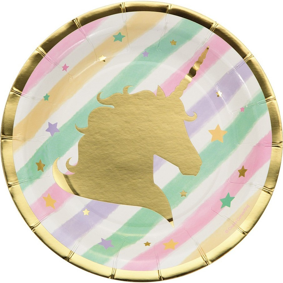 "View larger image of Unicorn Sparkle 7"" Dessert Plate (8)"