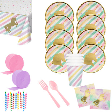 Unicorn Sparkle Deluxe Tableware Kit (Serves 8)