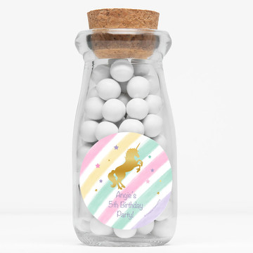 "Unicorn Sparkle Personalized 4"" Glass Milk Jars (Set of 12)"