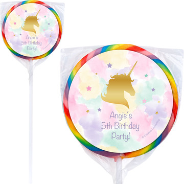Unicorn Sparkle Personalized Lollipops (12 Pack)