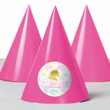 Unicorn Sparkle Personalized Party Hats (8 Count)