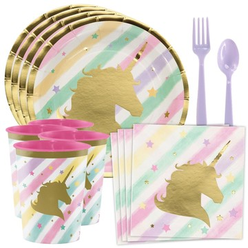Unicorn Sparkle Standard Tableware Kit With Plastic Favor Cups (Serves 8)