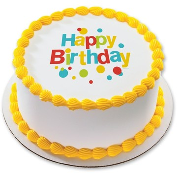 "Very Happy Birthday 7.5"" Round Edible Cake Topper (Each)"