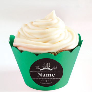 Vintage Dude 40 Personalized Cupcake Wrappers (Set of 24)