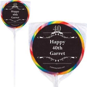 Vintage Dude 40 Personalized Lollipops (12 Pack)