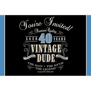 Vintage Dude 40th Invitations (8 Pack)