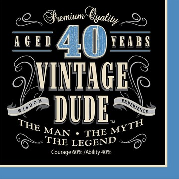 Vintage Dude 40th Luncheon Napkin (16 Pack)