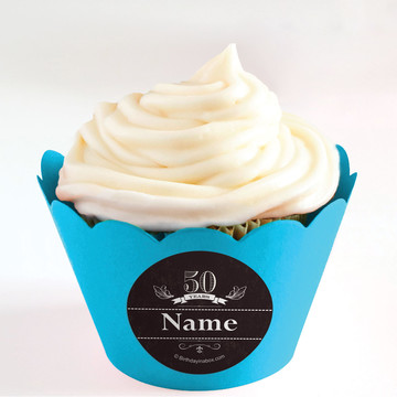 Vintage Dude 50 Personalized Cupcake Wrappers (Set of 24)