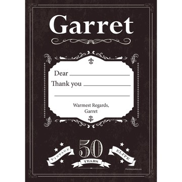 Vintage Dude 50 Personalized Thank You (Each)
