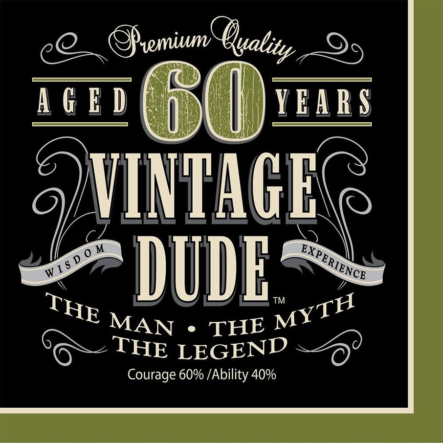 View larger image of Vintage Dude 60th Luncheon Napkins (16 Pack)