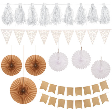 Wedding Decor - White Kraft 12pc Set