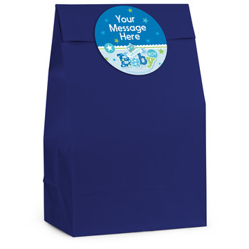 Welcome Baby Boy Personalized Favor Bag (12 Pack)