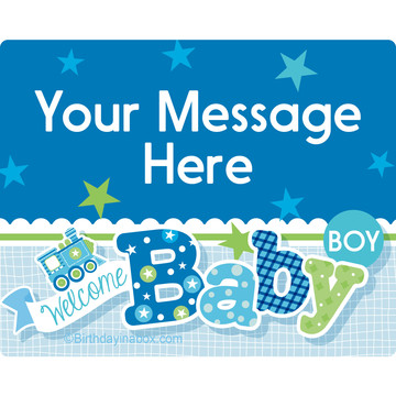 Welcome Baby Boy Personalized Rectangular Stickers (Sheet of 15)