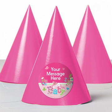 Welcome Baby Girl Personalized Party Hats (8 Count)