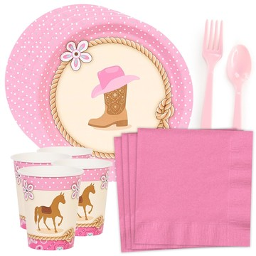 Western Cowgirl Party Standard Tableware Kit (Serves 8)