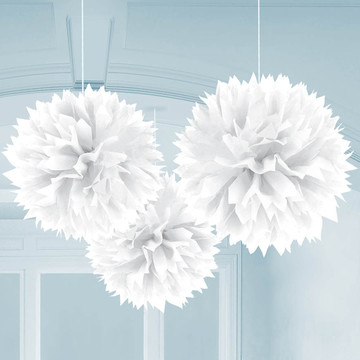 "White 16"" Fluffy Decorations (3)"