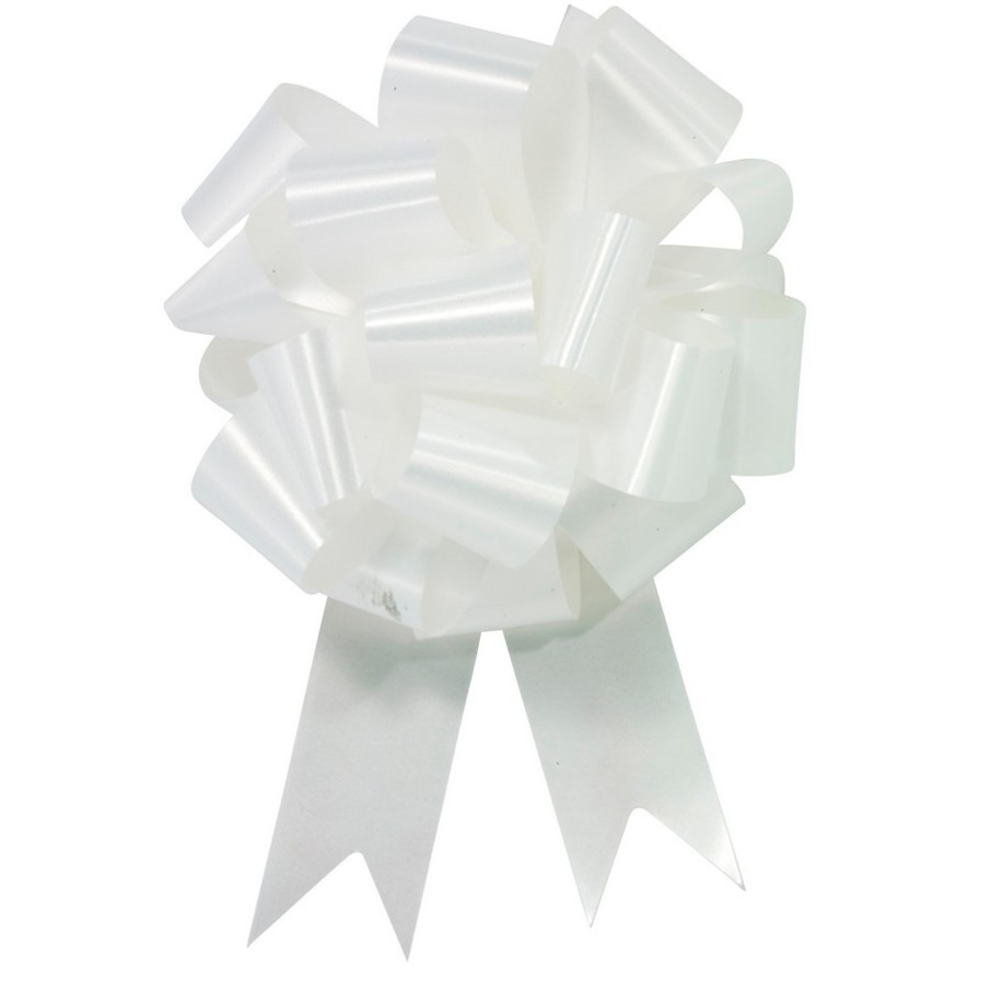 """View larger image of White 5"""" Pull Bow (10 Count)"""