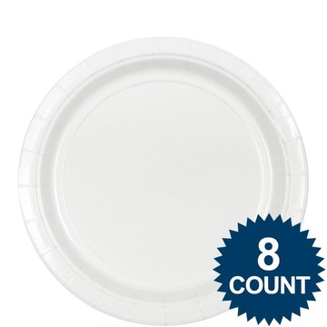 "White 9"" Paper Plate, 8ct."