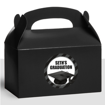 White Caps Off Graduation Personalized Treat Favor Boxes (12 Count)