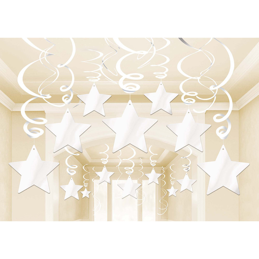 View larger image of White Foil Star Hanging Decorations (30 Count)