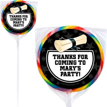 White Grad Personalized Lollipops (12 Pack)
