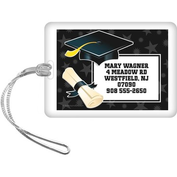 White Grad Personalized Luggage Tag (Each)