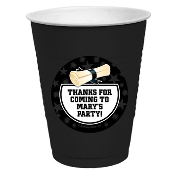 White Grad Personalized Party Cups, 50ct