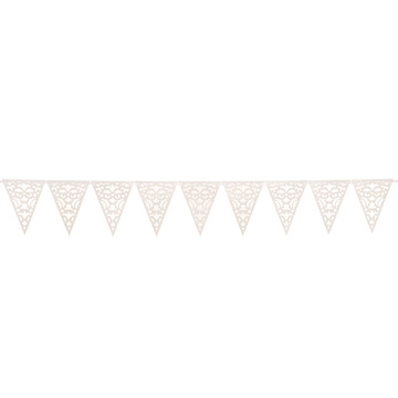 White Lace Die Cut Pennant Banner