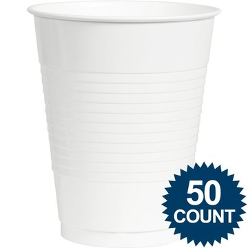 White Plastic 16 oz. Cup, 50 ct.