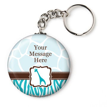 "Wild Safari Blue Personalized 2.25"" Key Chain (Each)"