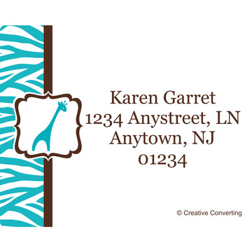 Wild Safari Blue Personalized Address Labels (Sheet of 15)