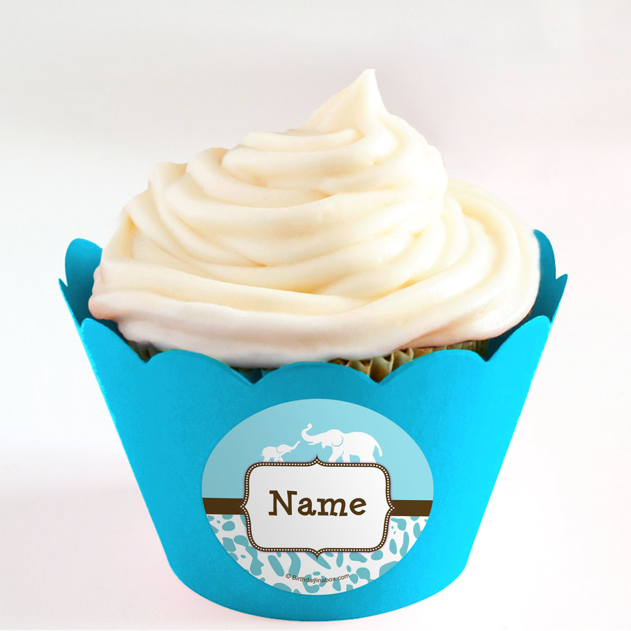 View larger image of Wild Safari Blue Personalized Cupcake Wrappers (Set of 24)