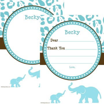 Wild Safari Blue Personalized Thank You (Each)