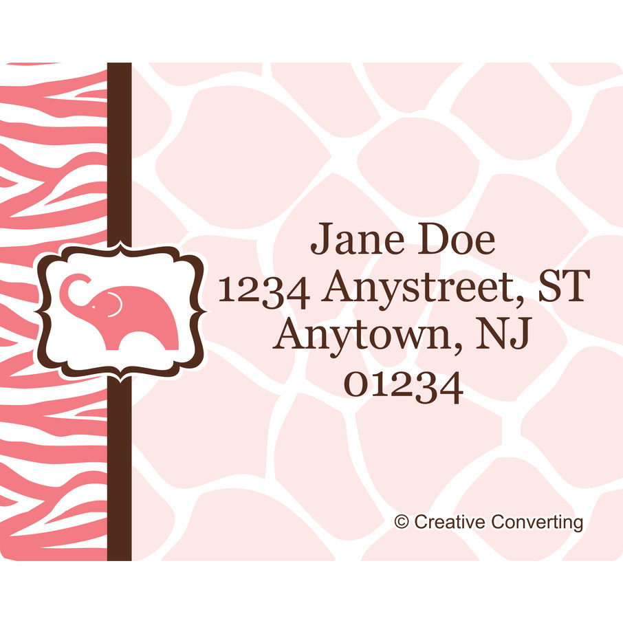 View larger image of Wild Safari Pink Personalized Address Labels (Sheet of 15)